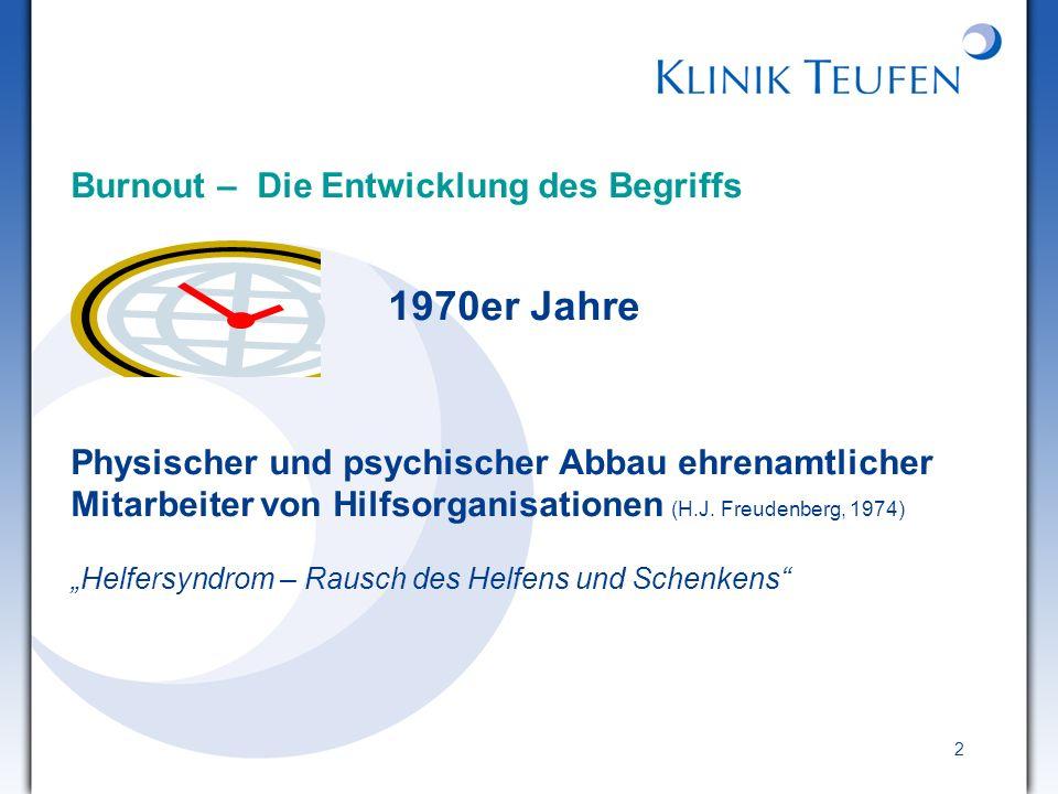 2 Burnout – Die Entwicklung des Begriffs 1970er Jahre Physischer und psychischer Abbau ehrenamtlicher Mitarbeiter von Hilfsorganisationen (H.J. Freude
