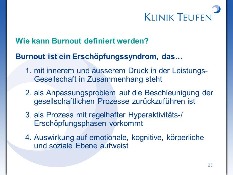 23 Wie kann Burnout definiert werden? Burnout ist ein Erschöpfungssyndrom, das… 1.mit innerem und äusserem Druck in der Leistungs- Gesellschaft in Zus
