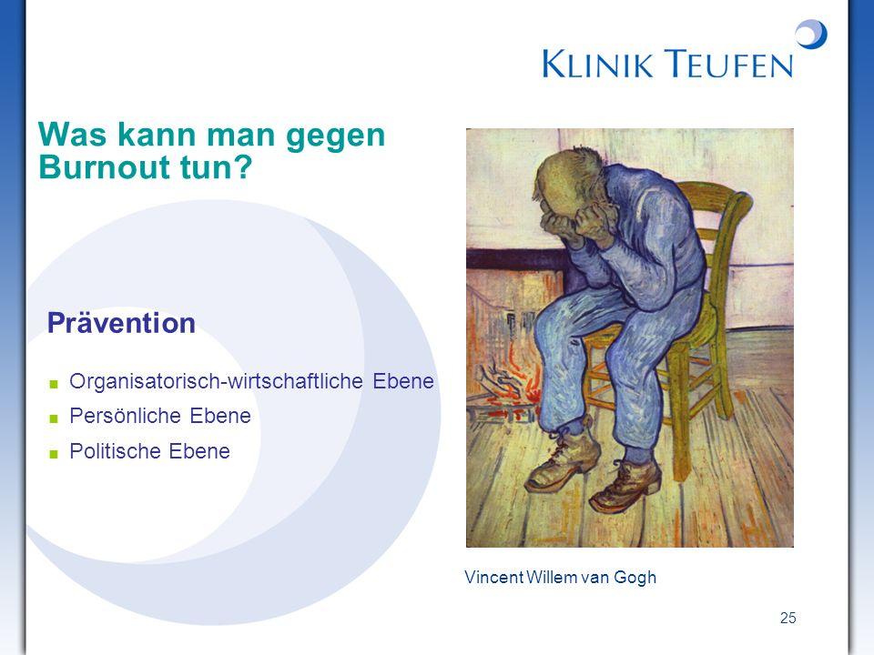 25 Vincent Willem van Gogh Was kann man gegen Burnout tun? Prävention Organisatorisch-wirtschaftliche Ebene Persönliche Ebene Politische Ebene