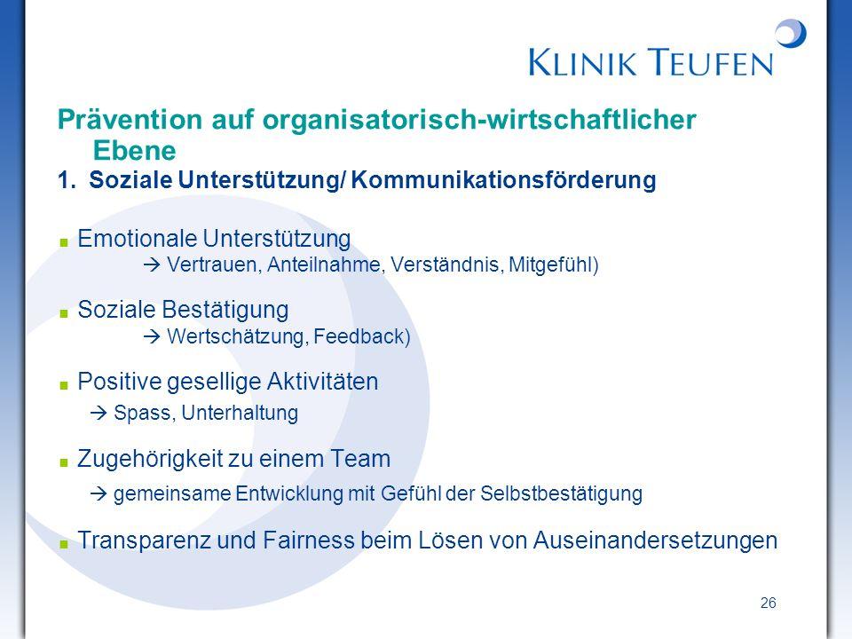26 Prävention auf organisatorisch-wirtschaftlicher Ebene 1. Soziale Unterstützung/ Kommunikationsförderung Emotionale Unterstützung Vertrauen, Anteiln