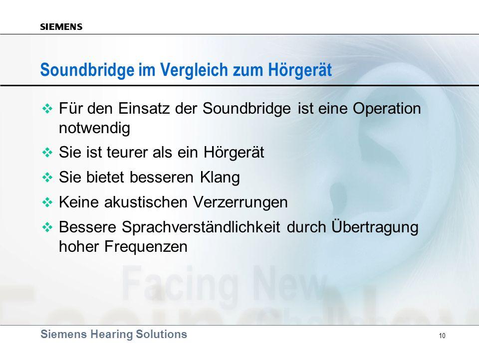 Siemens Hearing Solutions 10 Soundbridge im Vergleich zum Hörgerät v Für den Einsatz der Soundbridge ist eine Operation notwendig v Sie ist teurer als