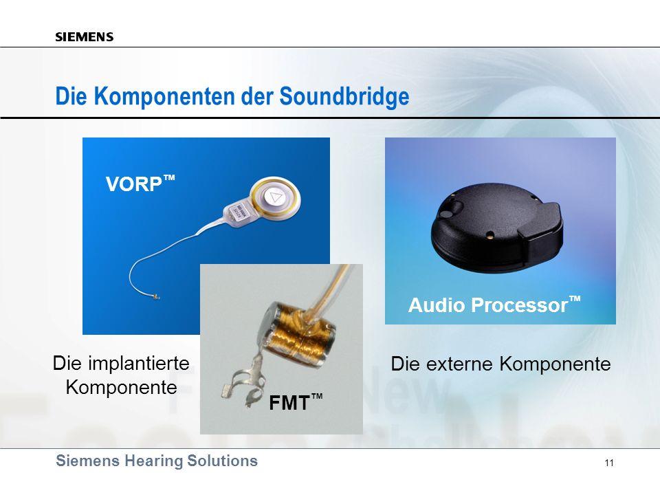 Siemens Hearing Solutions 11 Die Komponenten der Soundbridge Die externe Komponente VORP FMT Audio Processor Die implantierte Komponente