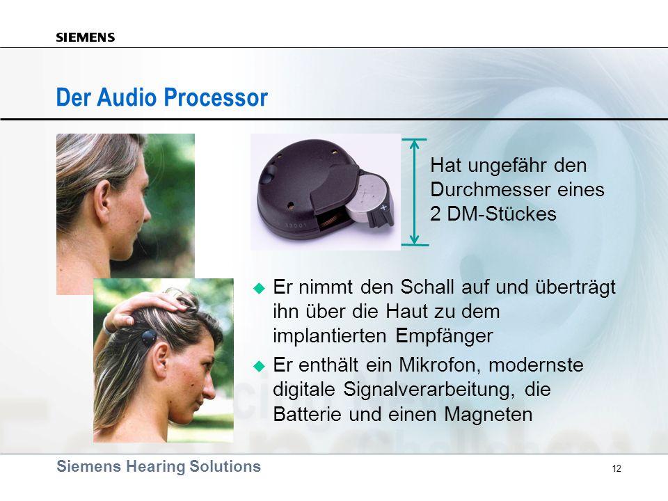 Siemens Hearing Solutions 12 Er nimmt den Schall auf und überträgt ihn über die Haut zu dem implantierten Empfänger Er enthält ein Mikrofon, modernste