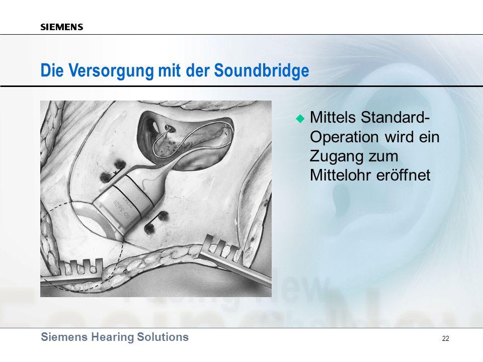 Siemens Hearing Solutions 22 Die Versorgung mit der Soundbridge Mittels Standard- Operation wird ein Zugang zum Mittelohr eröffnet