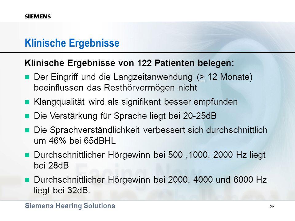 Siemens Hearing Solutions 26 Klinische Ergebnisse Klinische Ergebnisse von 122 Patienten belegen: Der Eingriff und die Langzeitanwendung (> 12 Monate)
