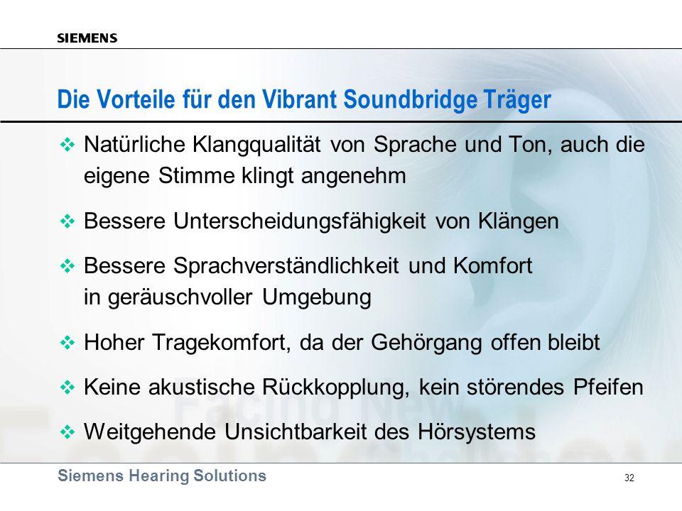 Siemens Hearing Solutions 32 Die Vorteile für den Vibrant Soundbridge Träger v Natürliche Klangqualität von Sprache und Ton, auch die eigene Stimme kl
