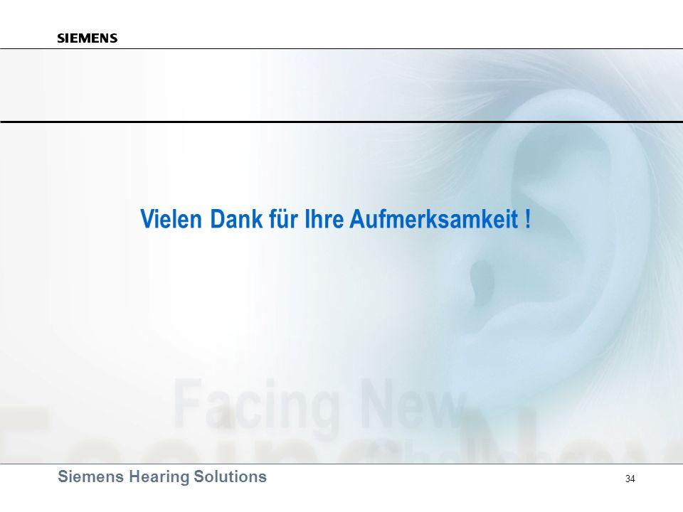 Siemens Hearing Solutions 34 Vielen Dank für Ihre Aufmerksamkeit !