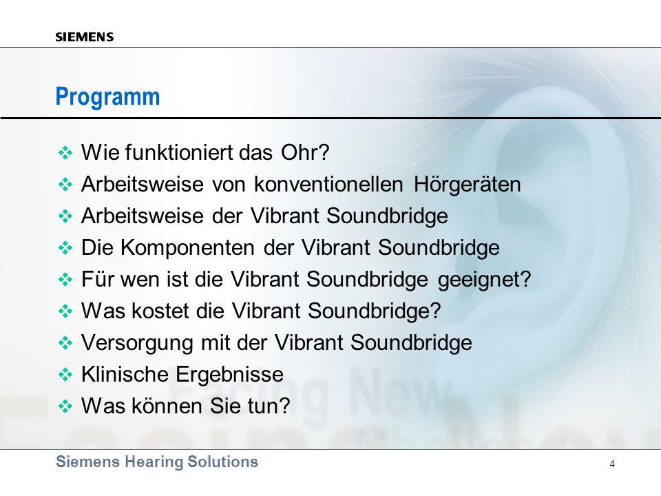 Siemens Hearing Solutions 4 Programm v Wie funktioniert das Ohr? v Arbeitsweise von konventionellen Hörgeräten v Arbeitsweise der Vibrant Soundbridge