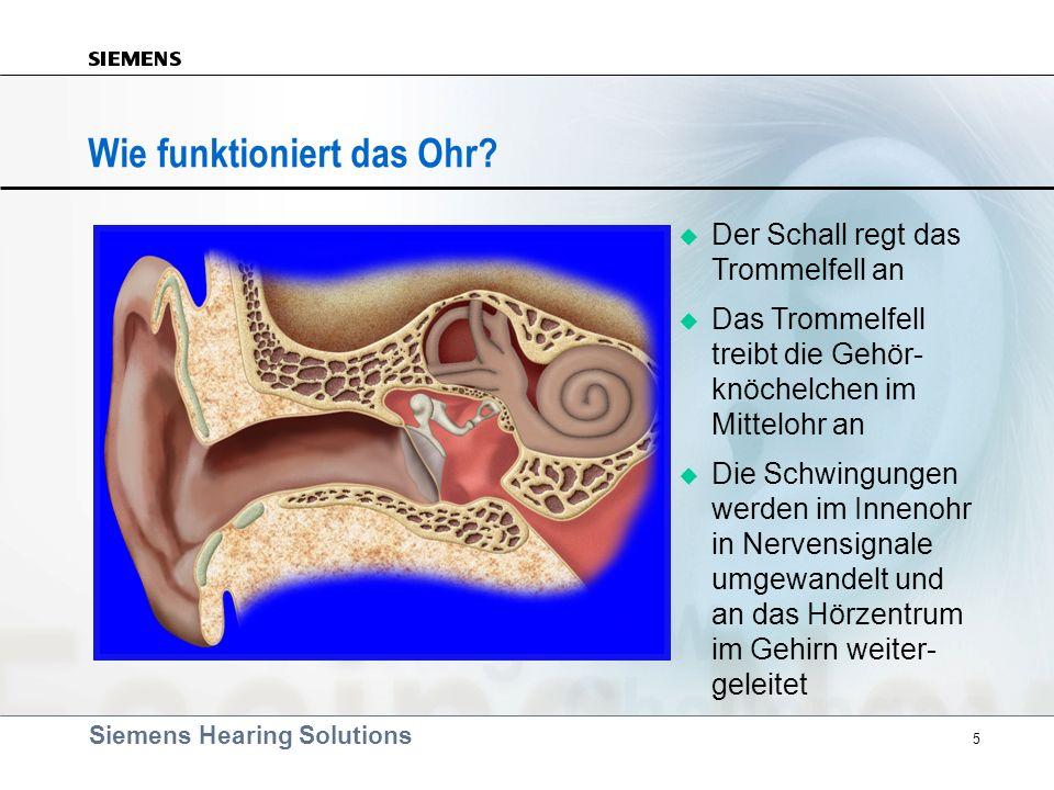 Siemens Hearing Solutions 5 Wie funktioniert das Ohr? Der Schall regt das Trommelfell an Das Trommelfell treibt die Gehör- knöchelchen im Mittelohr an