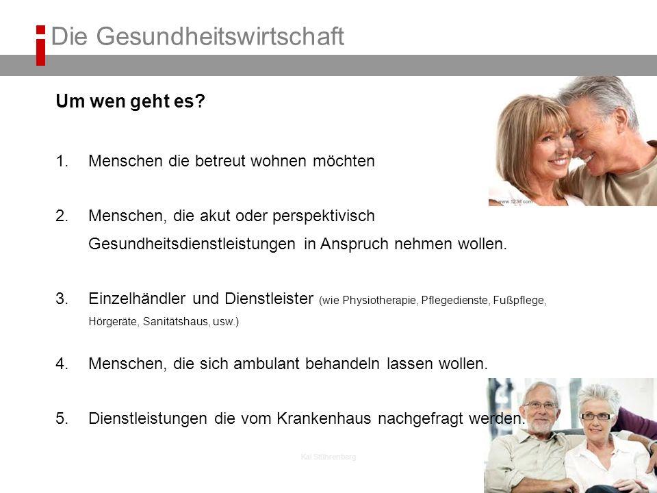 Kai Stührenberg Um wen geht es? 1.Menschen die betreut wohnen möchten 2.Menschen, die akut oder perspektivisch Gesundheitsdienstleistungen in Anspruch