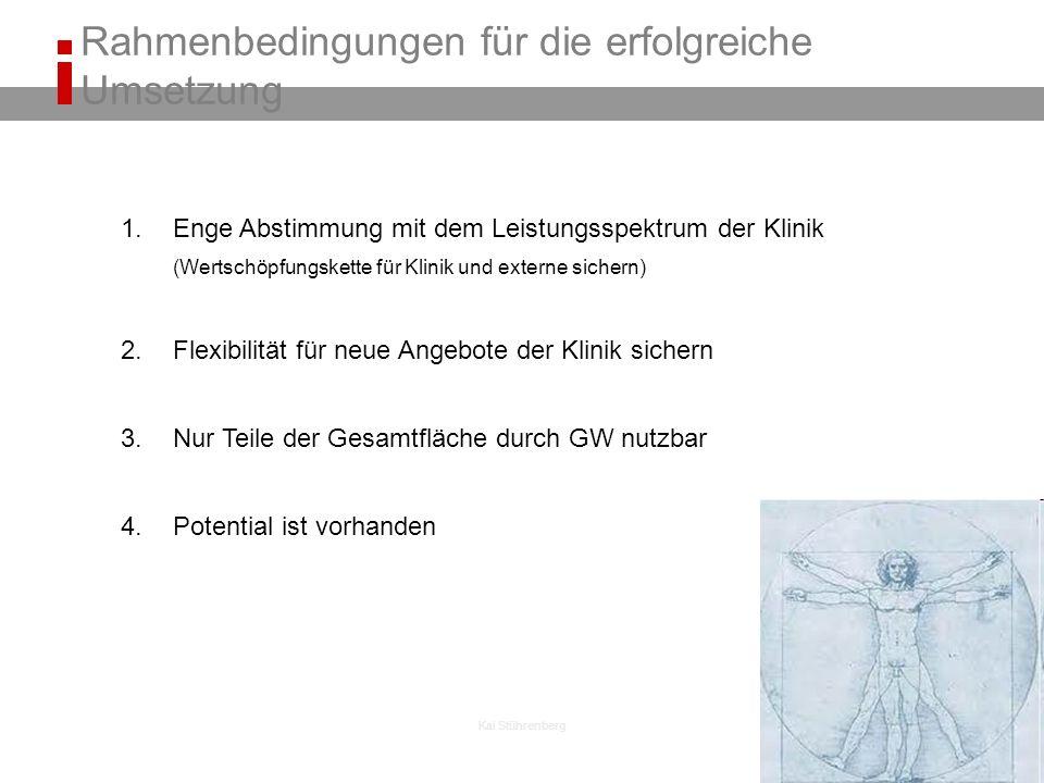 Kai Stührenberg 1.Enge Abstimmung mit dem Leistungsspektrum der Klinik (Wertschöpfungskette für Klinik und externe sichern) 2.Flexibilität für neue Angebote der Klinik sichern 3.Nur Teile der Gesamtfläche durch GW nutzbar 4.Potential ist vorhanden Rahmenbedingungen für die erfolgreiche Umsetzung