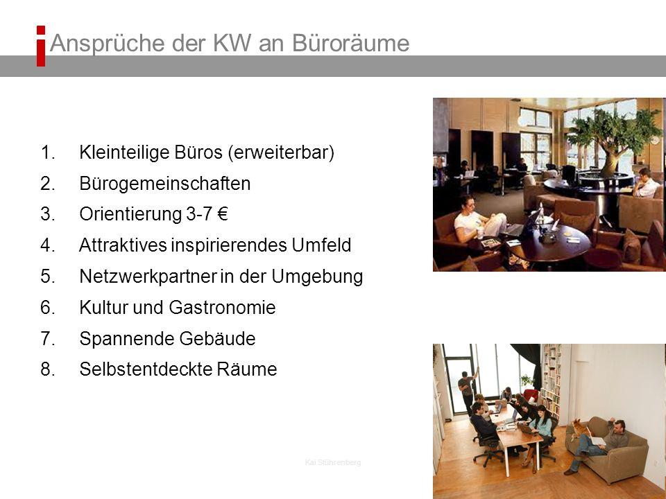 Kai Stührenberg Ansprüche der KW an Büroräume 1.Kleinteilige Büros (erweiterbar) 2.Bürogemeinschaften 3.Orientierung 3-7 4.Attraktives inspirierendes Umfeld 5.Netzwerkpartner in der Umgebung 6.Kultur und Gastronomie 7.Spannende Gebäude 8.Selbstentdeckte Räume