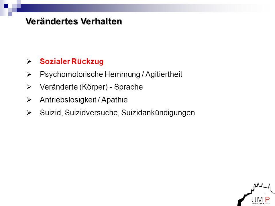 Sozialer Rückzug Psychomotorische Hemmung / Agitiertheit Veränderte (Körper) - Sprache Antriebslosigkeit / Apathie Suizid, Suizidversuche, Suizidankün