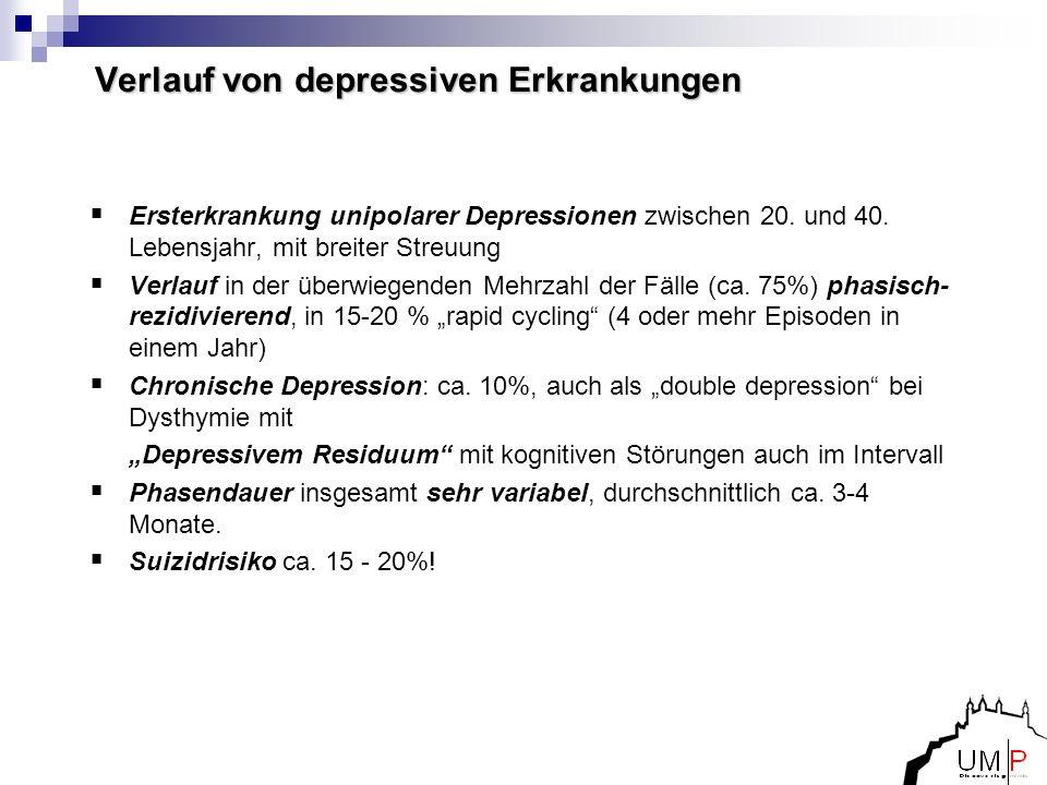 Verlauf von depressiven Erkrankungen Ersterkrankung unipolarer Depressionen zwischen 20. und 40. Lebensjahr, mit breiter Streuung Verlauf in der überw