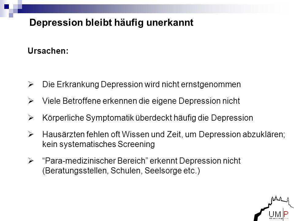 Depression bleibt häufig unerkannt Ursachen: Die Erkrankung Depression wird nicht ernstgenommen Viele Betroffene erkennen die eigene Depression nicht