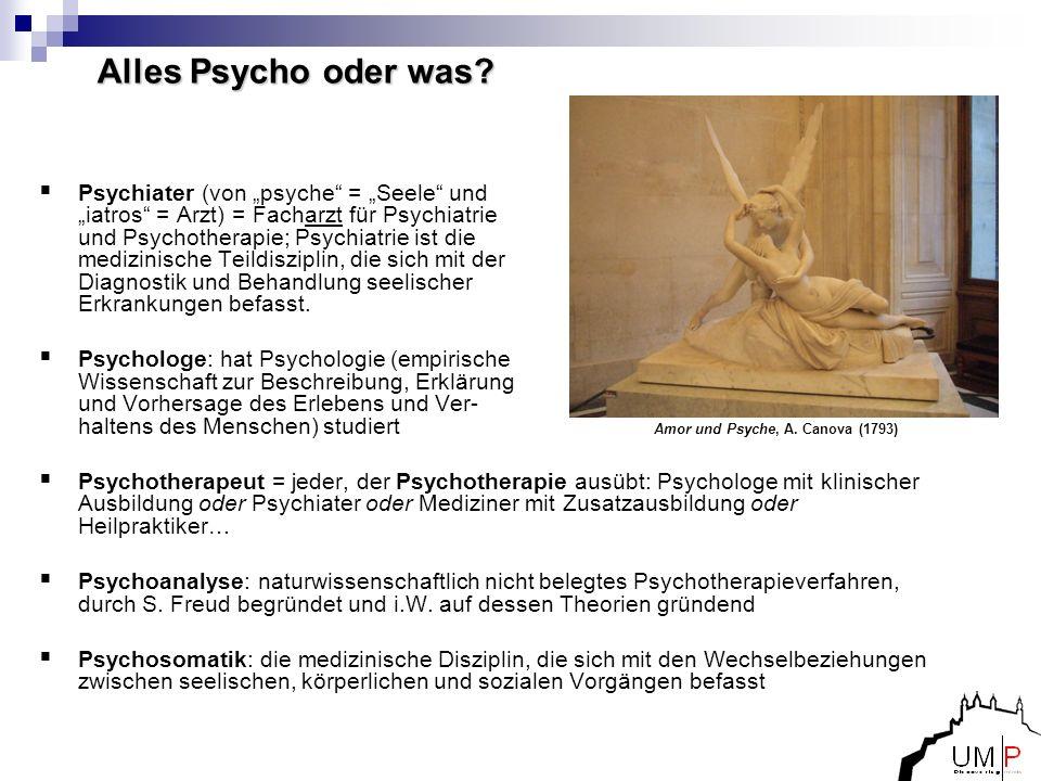 Alles Psycho oder was? Psychiater (von psyche = Seele und iatros = Arzt) = Facharzt für Psychiatrie und Psychotherapie; Psychiatrie ist die medizinisc