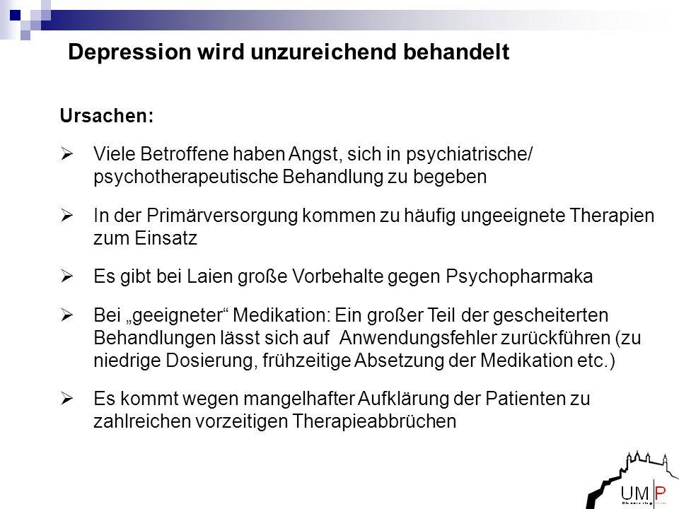 Depression wird unzureichend behandelt Ursachen: Viele Betroffene haben Angst, sich in psychiatrische/ psychotherapeutische Behandlung zu begeben In d