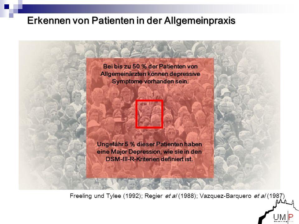 Freeling und Tylee (1992); Regier et al (1988); Vazquez-Barquero et al (1987) Erkennen von Patienten in der Allgemeinpraxis Bei bis zu 50 % der Patien