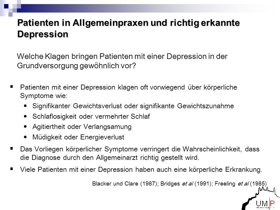Blacker und Clare (1987); Bridges et al (1991); Freeling et al (1985) Patienten in Allgemeinpraxen und richtig erkannte Depression Welche Klagen bring