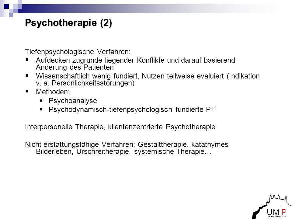 Psychotherapie (2) Tiefenpsychologische Verfahren: Aufdecken zugrunde liegender Konflikte und darauf basierend Änderung des Patienten Wissenschaftlich