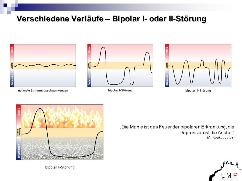 Verschiedene Verläufe – Bipolar I- oder II-Störung Die Manie ist das Feuer der bipolaren Erkrankung, die Depression ist die Asche. (A. Koukopoulos)