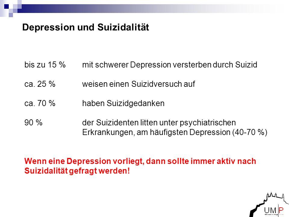 Depression und Suizidalität bis zu 15 % mit schwerer Depression versterben durch Suizid ca. 25 % weisen einen Suizidversuch auf ca. 70 % haben Suizidg