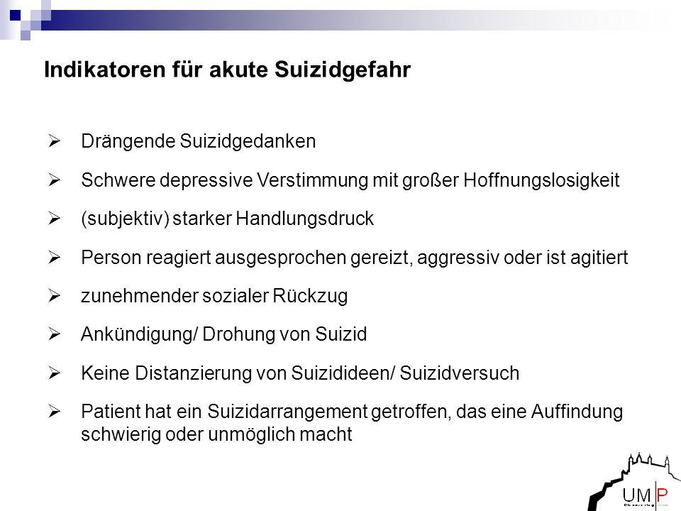 Indikatoren für akute Suizidgefahr Drängende Suizidgedanken Schwere depressive Verstimmung mit großer Hoffnungslosigkeit (subjektiv) starker Handlungs