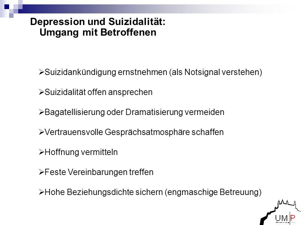 Suizidankündigung ernstnehmen (als Notsignal verstehen) Suizidalität offen ansprechen Bagatellisierung oder Dramatisierung vermeiden Vertrauensvolle G
