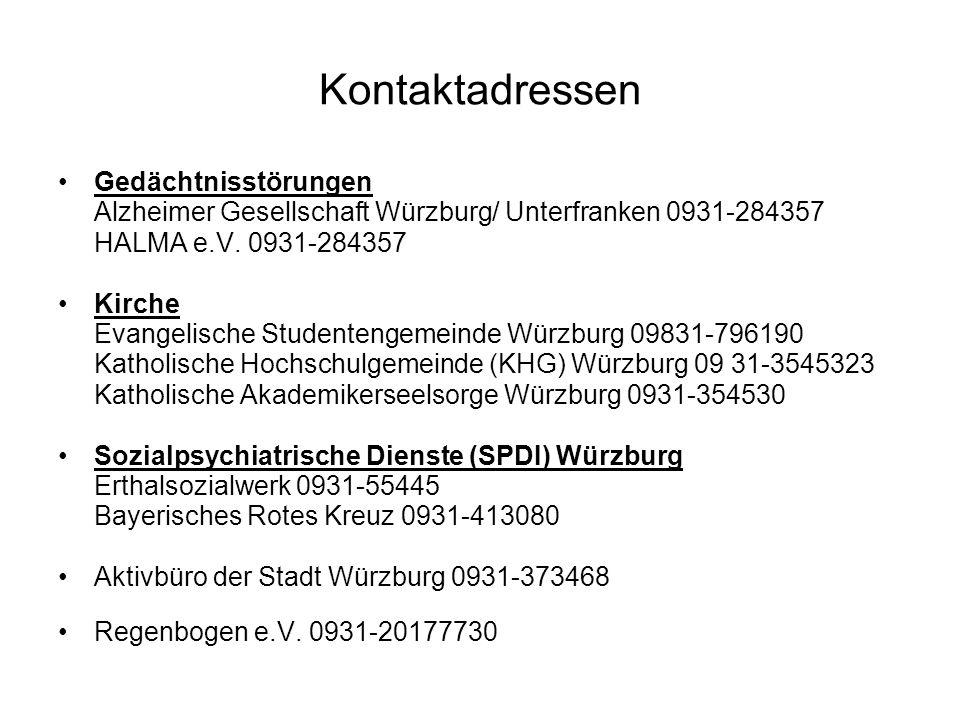 Kontaktadressen Gedächtnisstörungen Alzheimer Gesellschaft Würzburg/ Unterfranken 0931-284357 HALMA e.V. 0931-284357 Kirche Evangelische Studentengeme
