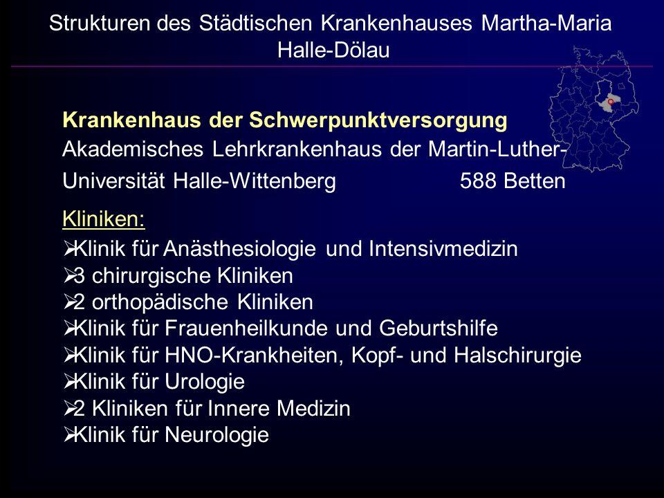 Strukturen des Städtischen Krankenhauses Martha-Maria Halle-Dölau Krankenhaus der Schwerpunktversorgung Akademisches Lehrkrankenhaus der Martin-Luther