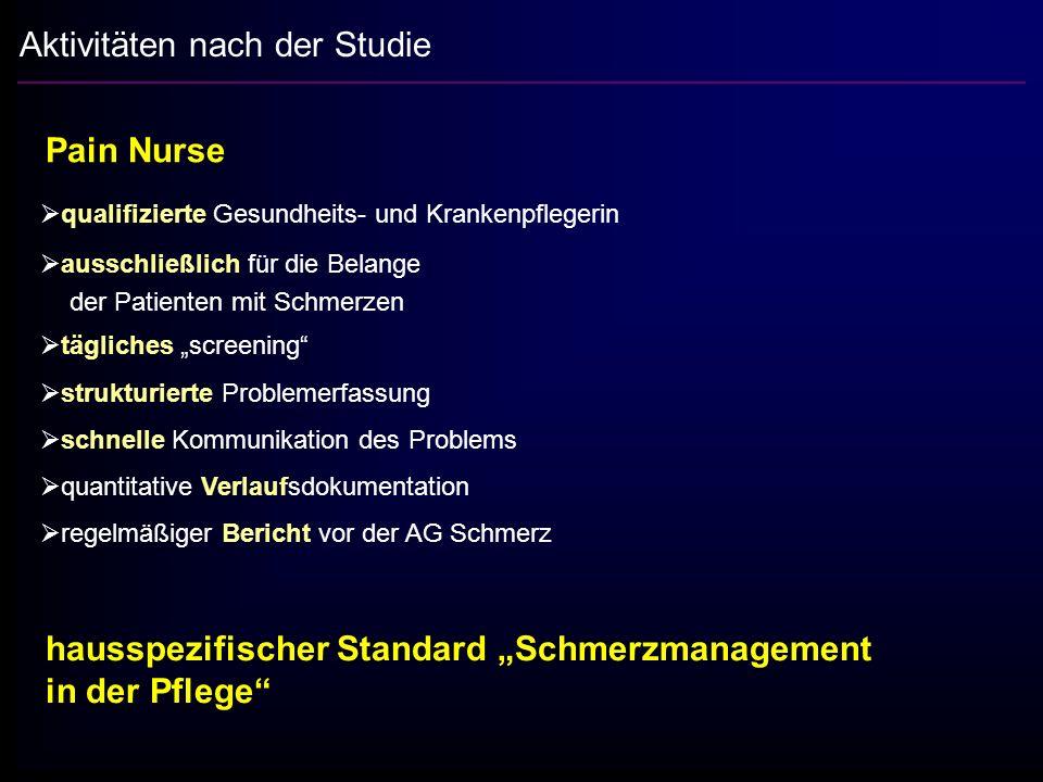 Aktivitäten nach der Studie Pain Nurse qualifizierte Gesundheits- und Krankenpflegerin ausschließlich für die Belange der Patienten mit Schmerzen tägl