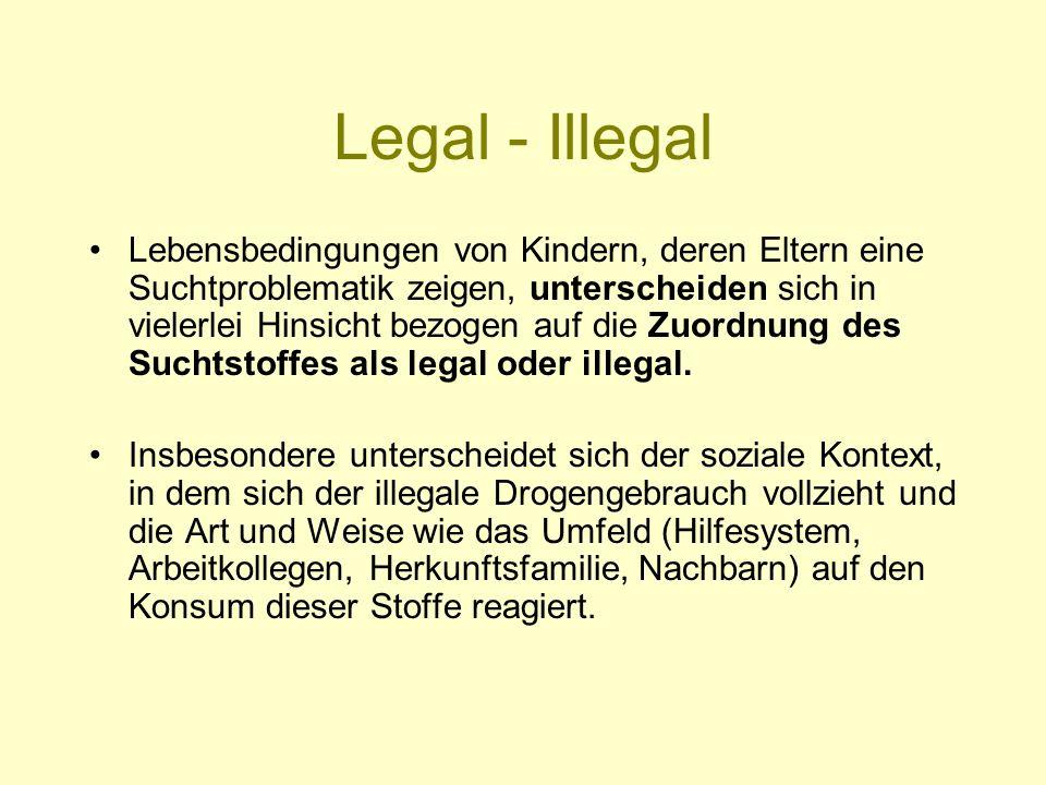 Legal - Illegal Lebensbedingungen von Kindern, deren Eltern eine Suchtproblematik zeigen, unterscheiden sich in vielerlei Hinsicht bezogen auf die Zuo