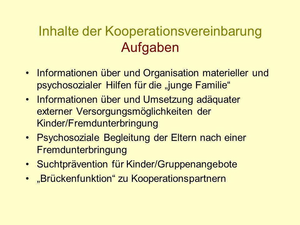 Inhalte der Kooperationsvereinbarung Aufgaben Informationen über und Organisation materieller und psychosozialer Hilfen für die junge Familie Informat