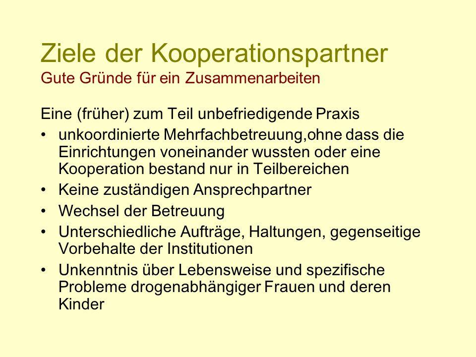 Ziele der Kooperationspartner Gute Gründe für ein Zusammenarbeiten Eine (früher) zum Teil unbefriedigende Praxis unkoordinierte Mehrfachbetreuung,ohne
