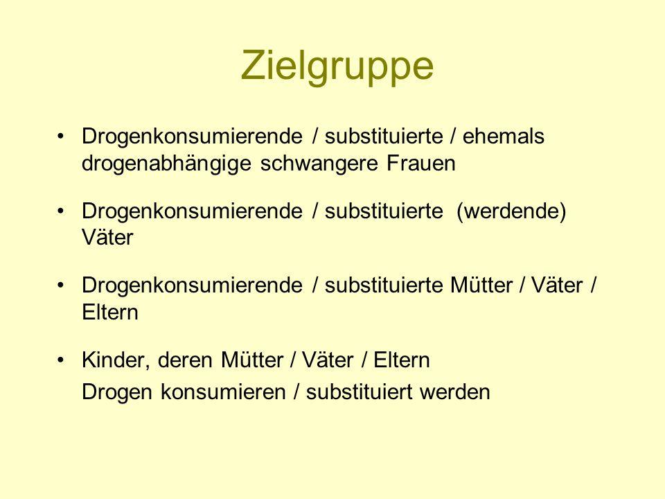 Zielgruppe Drogenkonsumierende / substituierte / ehemals drogenabhängige schwangere Frauen Drogenkonsumierende / substituierte (werdende) Väter Drogen