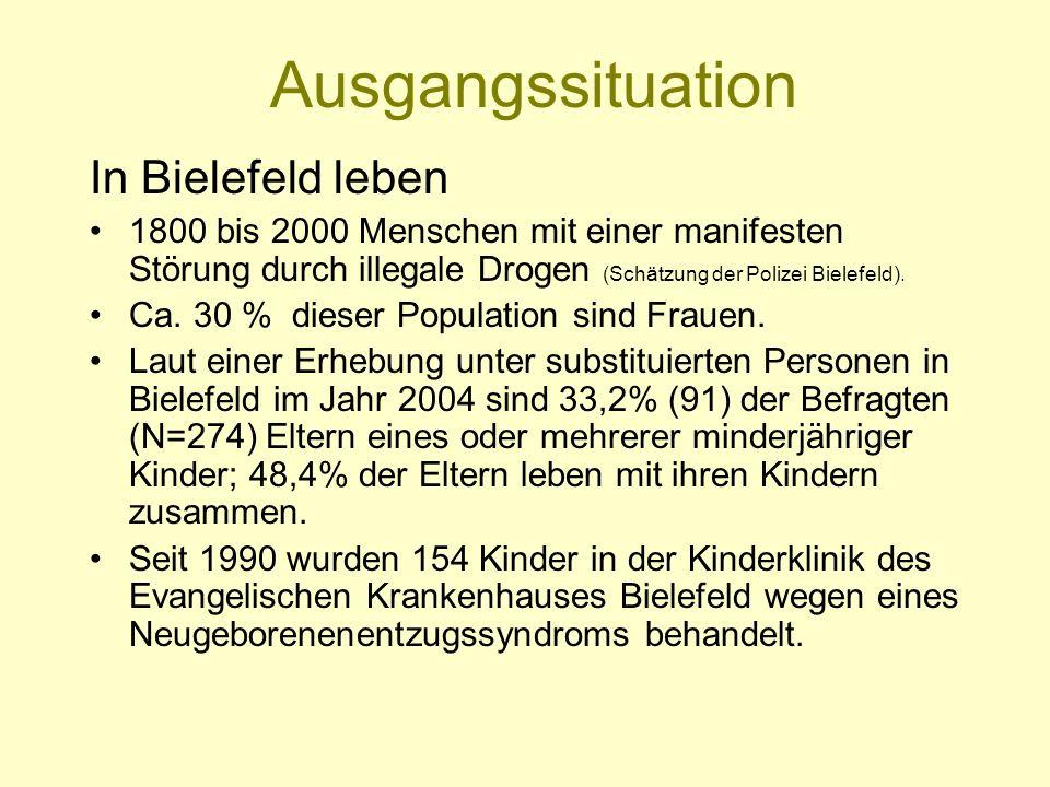 Ausgangssituation In Bielefeld leben 1800 bis 2000 Menschen mit einer manifesten Störung durch illegale Drogen (Schätzung der Polizei Bielefeld). Ca.