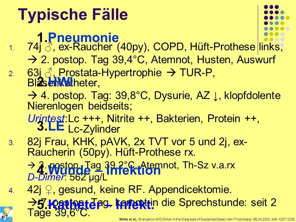 Typische Fälle 1. 74j, ex-Raucher (40py), COPD, Hüft-Prothese links, 2. postop. Tag 39,4°C, Atemnot, Husten, Auswurf 2. 63j, Prostata-Hypertrophie TUR