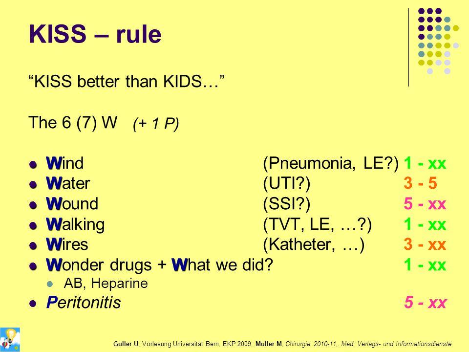 KISS – rule KISS better than KIDS… The 6 (7) W W Wind(Pneumonia, LE?)1 - xx W Water(UTI?)3 - 5 W Wound(SSI?)5 - xx W Walking(TVT, LE, …?)1 - xx W Wire