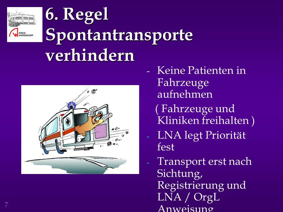 7 6. Regel Spontantransporte verhindern - Keine Patienten in Fahrzeuge aufnehmen ( Fahrzeuge und Kliniken freihalten ) - LNA legt Priorität fest - Tra