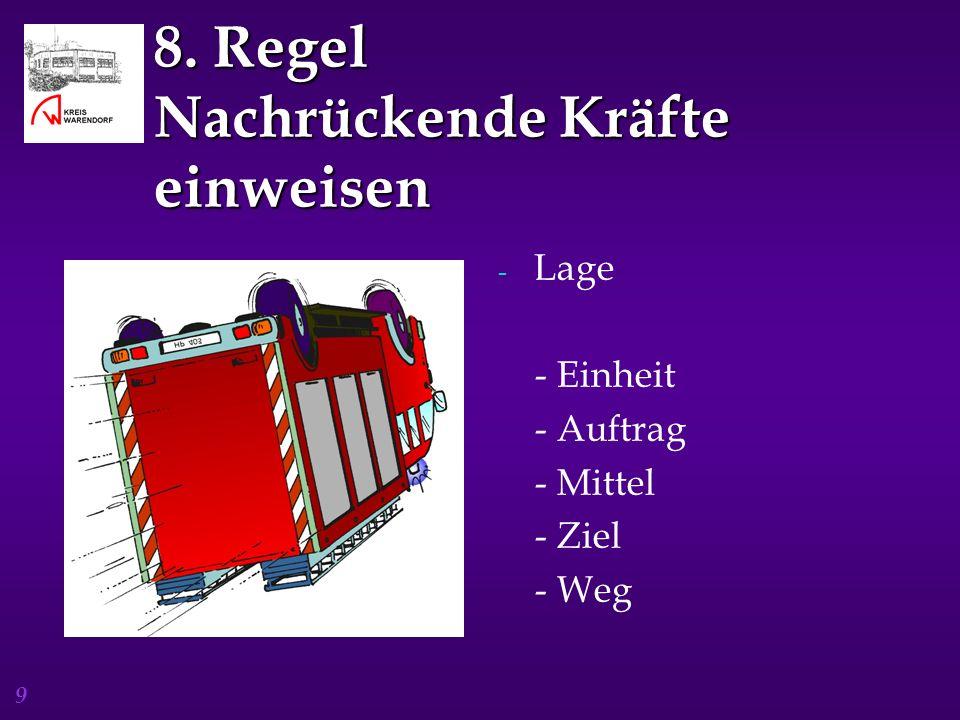 9 8. Regel Nachrückende Kräfte einweisen - Lage - Einheit - Auftrag - Mittel - Ziel - Weg