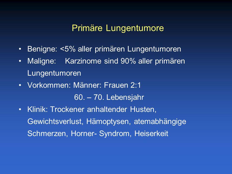 Benigne: <5% aller primären Lungentumoren Maligne: Karzinome sind 90% aller primären Lungentumoren Vorkommen: Männer: Frauen 2:1 60. – 70. Lebensjahr