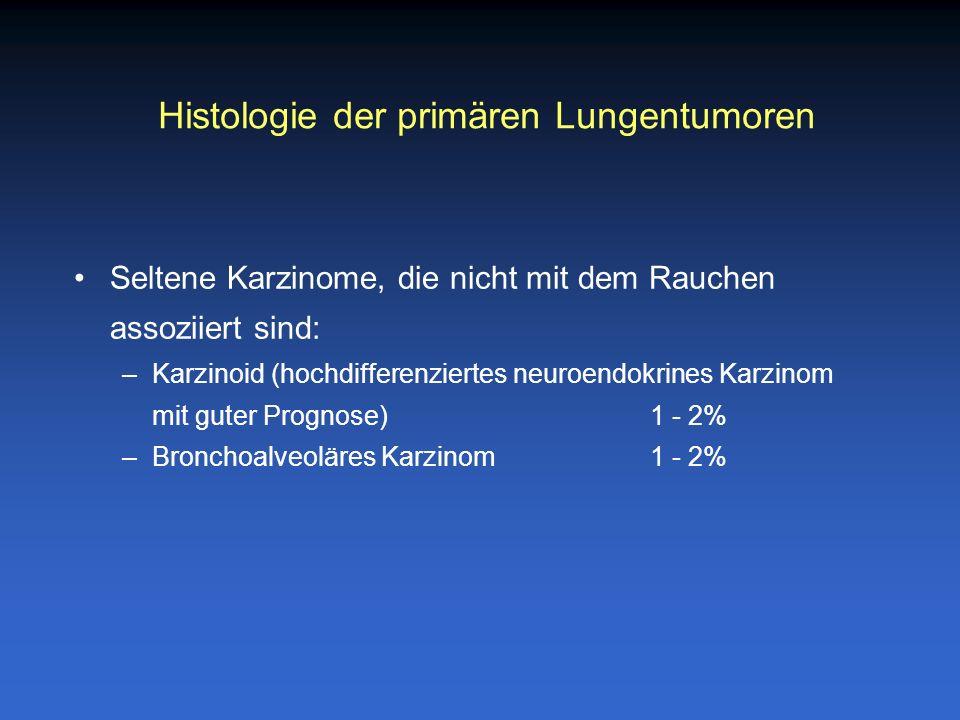Seltene Karzinome, die nicht mit dem Rauchen assoziiert sind: –Karzinoid (hochdifferenziertes neuroendokrines Karzinom mit guter Prognose)1 - 2% –Bron