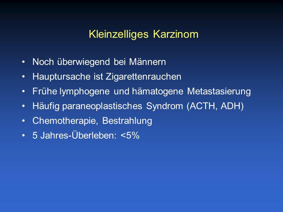 Noch überwiegend bei Männern Hauptursache ist Zigarettenrauchen Frühe lymphogene und hämatogene Metastasierung Häufig paraneoplastisches Syndrom (ACTH
