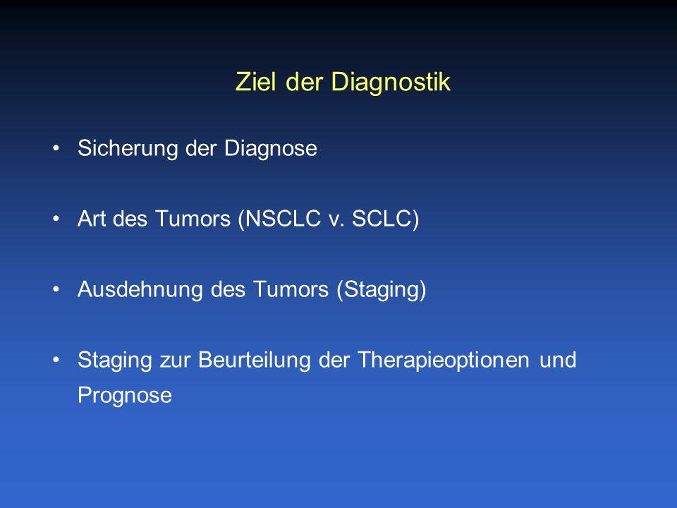 Sicherung der Diagnose Art des Tumors (NSCLC v. SCLC) Ausdehnung des Tumors (Staging) Staging zur Beurteilung der Therapieoptionen und Prognose Ziel d