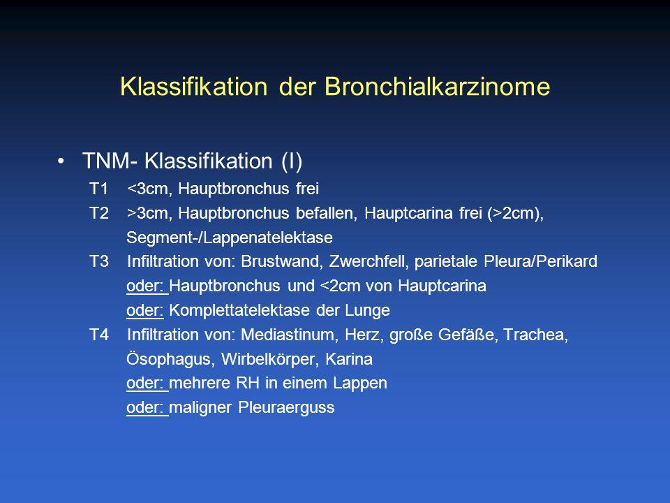 Klassifikation der Bronchialkarzinome TNM- Klassifikation (I) T1 <3cm, Hauptbronchus frei T2 >3cm, Hauptbronchus befallen, Hauptcarina frei (>2cm), Se