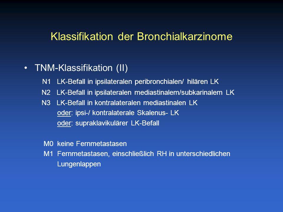 Klassifikation der Bronchialkarzinome TNM-Klassifikation (II) N1 LK-Befall in ipsilateralen peribronchialen/ hilären LK N2 LK-Befall in ipsilateralen