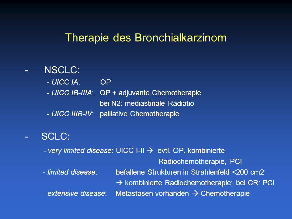 Therapie des Bronchialkarzinom - NSCLC: - UICC IA: OP - UICC IB-IIIA: OP + adjuvante Chemotherapie bei N2: mediastinale Radiatio - UICC IIIB-IV: palli
