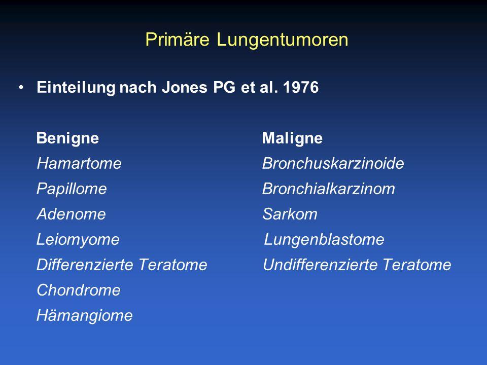 Einteilung nach Jones PG et al. 1976 Benigne Maligne Hamartome Bronchuskarzinoide PapillomeBronchialkarzinom Adenome Sarkom Leiomyome Lungenblastome D