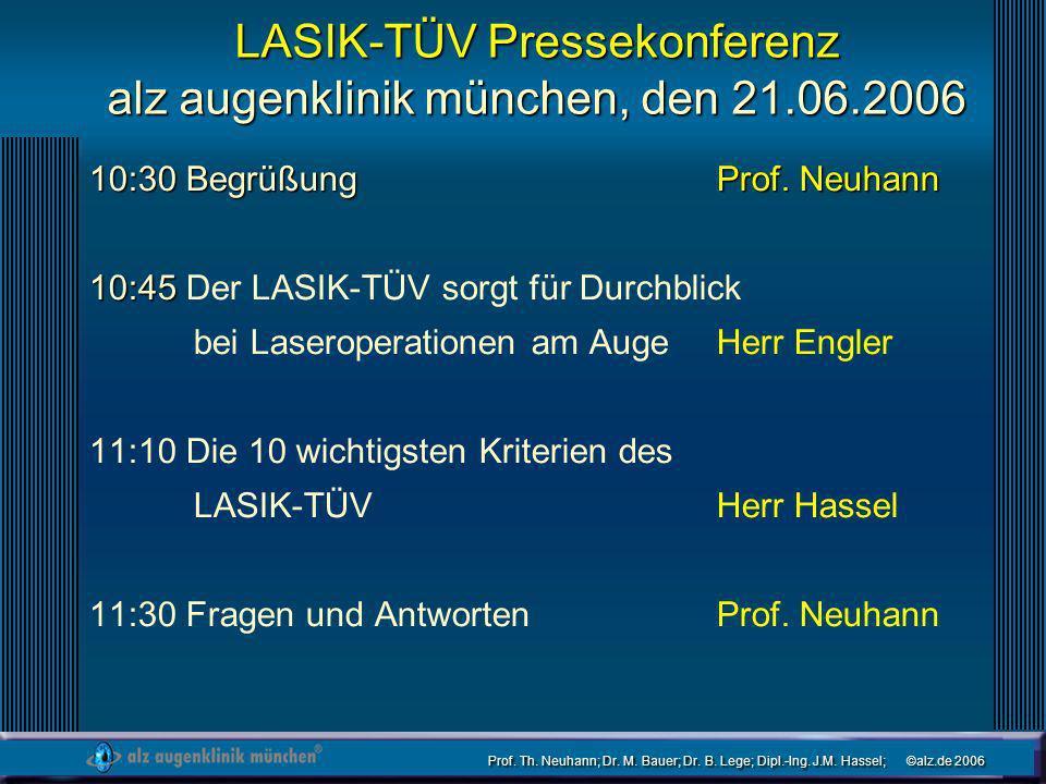 Prof. Th. Neuhann; Dr. M. Bauer; Dr. B. Lege; Dipl.-Ing. J.M. Hassel; ©alz.de 2006 LASIK-TÜV Pressekonferenz alz augenklinik münchen, den 21.06.2006 1