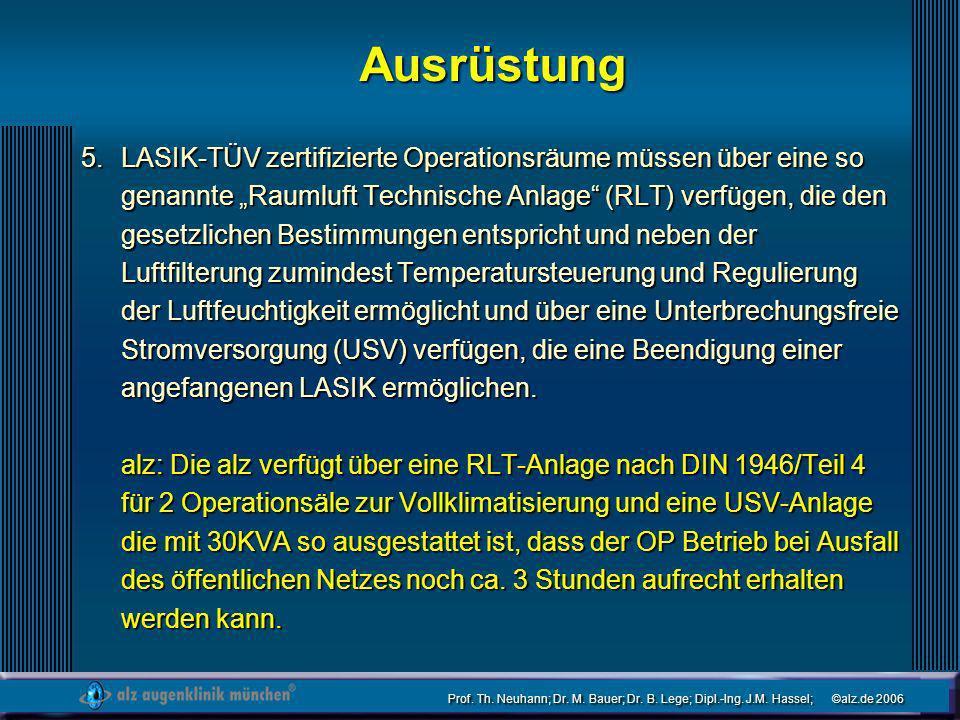 Prof. Th. Neuhann; Dr. M. Bauer; Dr. B. Lege; Dipl.-Ing. J.M. Hassel; ©alz.de 2006 Ausrüstung LASIK-TÜV zertifizierte Operationsräume müssen über eine